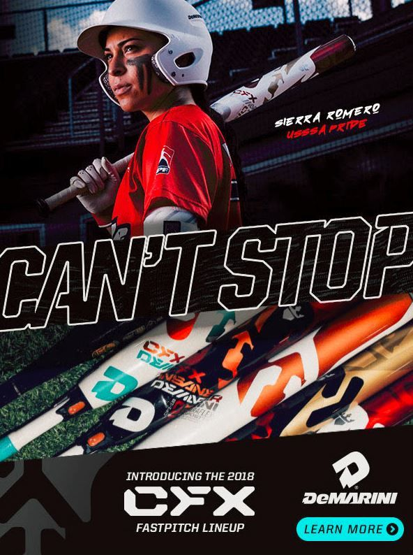Promotional poster featuring Sierra Romero for the CFX bat by DeMarini